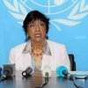 High Commissioner for Human Rights Navi Pillay addresses the press in Bangui, Central African Republic.