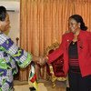 Special Representative on Sexual Violence in Conflict, Zainab Hawa Bangura (right) meeting with Acting Head of State Catherine Samba-Panza of Central African Republic in Bangui on 17 March 2014.