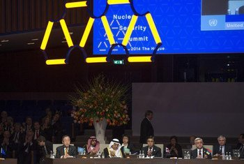 Secretary-General Ban Ki-moon (left) addresses the opening session of the Nuclear Security Summit in the Hague.