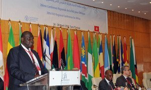 FAO Assistant Director-General and Regional Representative for Africa Bukar Tijani addresses the 28th Regional Conference for Africa in Tunis.