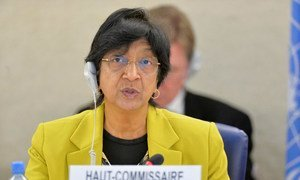High Commissionner for Human Rights Navi Pillay addresses  the 25th session of the Human Rights Council in Geneva.