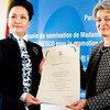 UNESCO Director-General Irina Bokova (right) nominates Peng Liyuan, a musician of international renown and First Lady of China, as a UNESCO Special Envoy for the Advancement of Girls' and Women's Education.