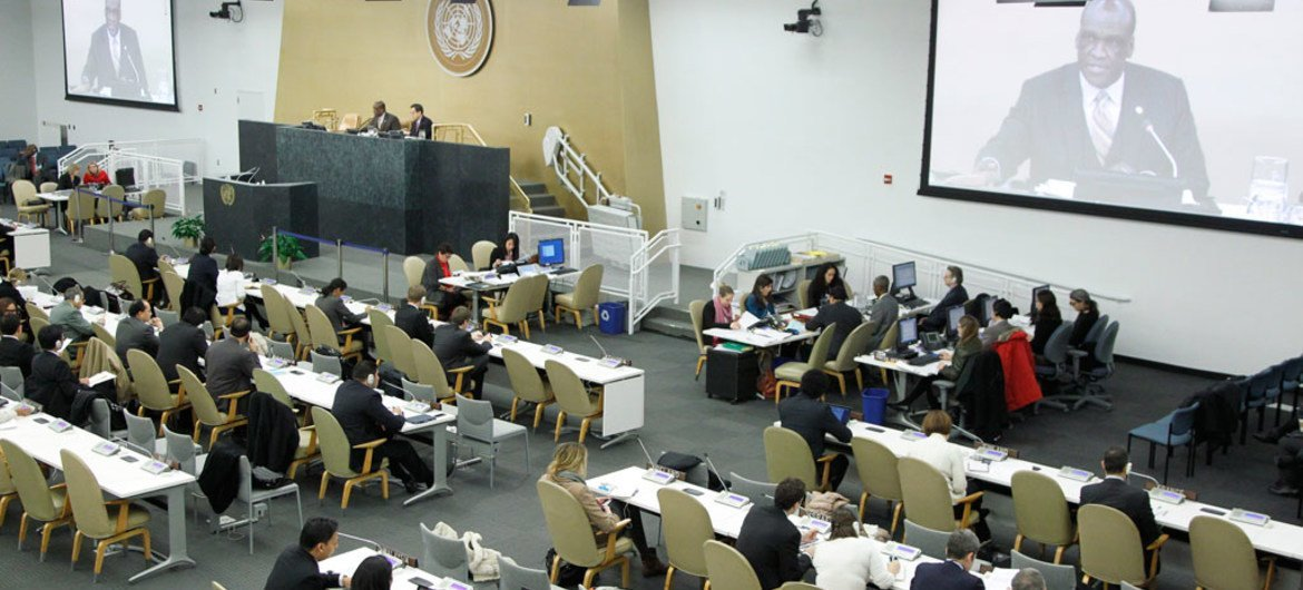 A wide view of the temporary General Assembly.