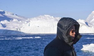 Secretary-General Ban Ki-moon tours the UNESCO World Heritage site of Ilulissat Icefjord in Greenland.