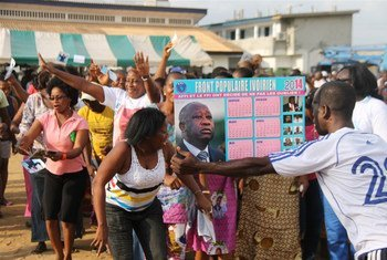 Supporters of former Ivoirian president Laurent Gbagbo at a rally in February 2014 in Koumassi town, south of Abidjan. There are worries over Côte d'Ivoire's 2015 poll preparations.