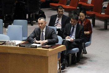Le Représentant spécial Nickolay Mladenov devant le Conseil de sécurité. Photo ONU/JC McIlwaine