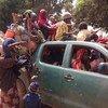 Muslim residents from Kaga Bandoro, Central African Republic, flee towards Chad escorted by armed Séléka militias.
