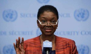 Valerie Amos, UN Under-Secretary-General for Humanitarian Affairs and Emergency Relief Coordinator, briefs journalists following closed-door Security Council consultations on the situation in Syria.