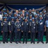 UN Secretary-General Ban Ki-moon poses for a group photo with UNPOL/UNIPSIL staff as well as Sierra Leonean police officers serving in UN missions abroad during his recent visit to Freetown.