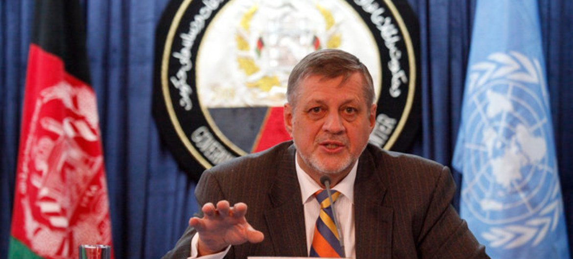 Special Representative for Afghanistan Jan Kubiš holds press conference in the capital Kabul.