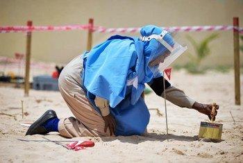 Une femme dégage un obus de mortier lors d'une démonstration par le Service de lutte antimines des Nations Unies (UNMAS) à Mogadiscio, en Somalie. Photo ONU/Tobin Jones