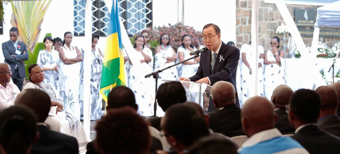 Secretary-General Ban Ki-moon speaks at a ceremony held in the UNDP coumpound in Kigali to commemorate the UN staff members who lost their lives in the 1994 genocide in Rwanda.
