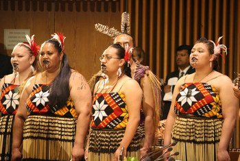 Māoris singing and chanting at UN Headquarters in 2009.