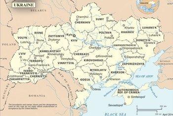 Mapa de Ucrania  Fuente;ONU Sección de Cartografía
