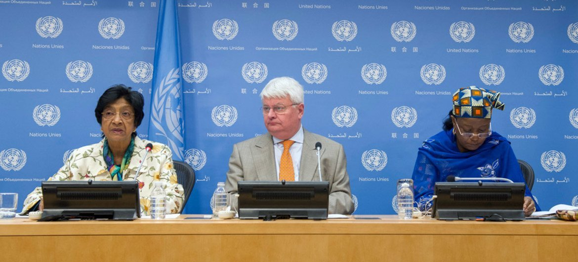From left: Rights Commissioner Navi Pillay, Peacekeeping chief Hervé Ladsous and Special Representative on Sexual Violence in Conflict Zainab Hawa Bangura at press conference on Sexual Violence in DRC.