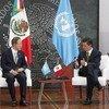 El Secretario General de la ONU con el Presidente de México, Enrqieu Peña Nieto,   Foto archivo ONU .