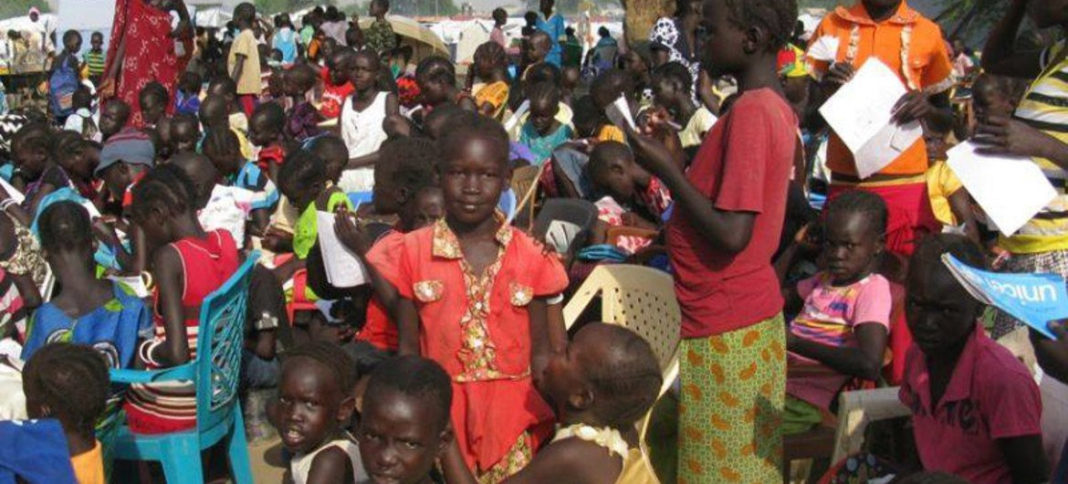 A makeshift primary school for students at the UNMISS displaced persons camp in Bor, Jonglei state, South Sudan.