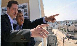 Le nouveau Commissaire général de l'UNRWA, Pierre Krähenbühl, à Gaza.