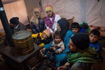 Une famille de réfugiés syriens au Liban.