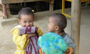 Children living at the Market 3 IDP camp in the centre of Laiza town, Kachin state, Myanmar.