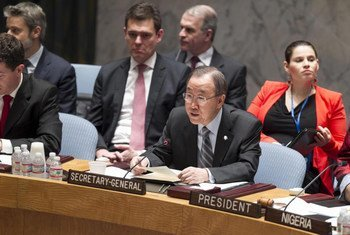 Secretary-General Ban Ki-moon addresses the Security Council open debate on sexual violence in conflict.