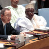 Secretary-General Ban Ki-moon (left) addresses the Security Council open debate on security sector reform. Foreign Minister Aminu Wali of Nigeria, Council President for April, is at right.