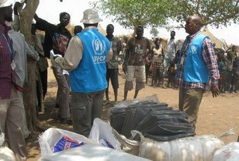 A recent aid distribution to displaced people in South Sudan.