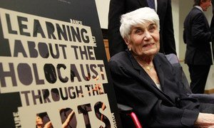 Holocaust survivor Naomi Warren participates in 'Learning about the Holocaust through the Arts' at the UN Headquarters in New York.