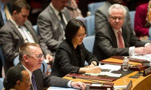Under-Secretary-General for Political Affairs, Jeffrey Feltman (second left), briefs the Security Council on the worsening situation in Ukraine.