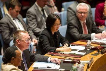 Le Secrétaire général adjoint des Nations Unies aux affaires politiques, Jeffrey Feltman (deuxième à droite),  au Conseil de sécurité.