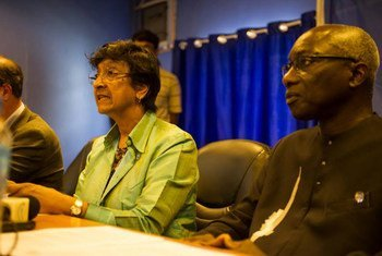 High Commissioner for Human Righs Navi Pillay (left) and Special Advisor on the Prevention of Genocide Adama Dieng at press conference in Juba, South Sudan.