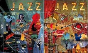 Timbres des Nations Unies commémorant la Journée Internationale du Jazz, dont la quatrième édition a lieu cette année à Paris. Photo : APNU