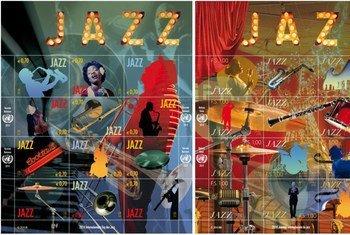 Sellos de la ONU conmemorativos del Dia Internacional del Jazz. Foto: UNPA