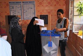 Des électeurs déposent leur bulletin de vote en Iraq lors des élections du 30 avril 2014. Photo MANUI