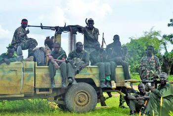 Des soldats de plus en plus nombreux que les civils dans les rues de Damazin, dans l'Etat du Blue Nile, au Soudan du Sud (archive).