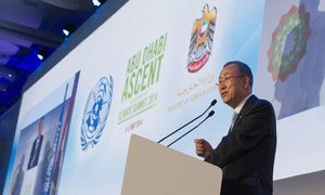 UN Secretary-General Ban Ki-moon addresses opening ceremony of the Abu Dhabi Ascent climate change conference, 04 May 2014, United Arab Emirates.