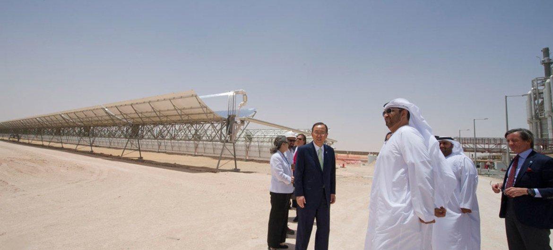Secretary-General Ban Ki-moon visits Shams solar power plant in Abu Dhabi, United Arab Emirates.