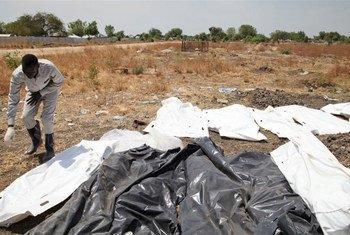 Un volontaire dans la ville sud-soudanaise de Bor arrange les cadavres de victimes des affrontements entre forces gouvernementales et rebelles. Photo Hannah McNeish/IRIN