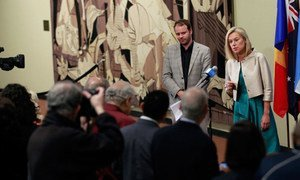 Sigrid Kaag (top right), Special Coordinator of the Joint Mission of the Organisation for the Prohibition of Chemical Weapons (OPCW) and the UN to eliminate Syria's chemical weapons programme, speaks to journalists following a closed-door meeting of the Security Council on Syria.