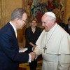 Ban Ki-moon y el Papa Francisco. Foto de archivo: ONU/Eskinder Debebe