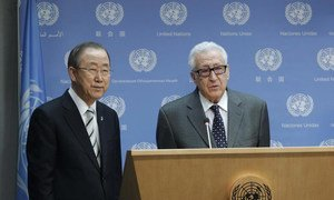 Secretary-General Ban Ki-moon (left) at daily press briefing where he announced the resignation of Lakhdar Brahimi, the Joint United Nations-League of Arab States Special Representative on the Syrian crisis.