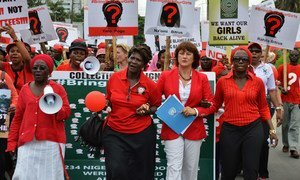 A view from a rally held in May 2014 in Lagos, calling for the return of over two hundred Nigerian secondary school girls abducted in April by the extremist group Boko Haram.