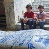 Alimentos para distribuir entre desplazados sirios  Foto:  PMA/Hussam Al Saleh