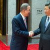 Secretary-General Ban Ki-moon (left) meets with President Xi Jinping of China, during his official visit.