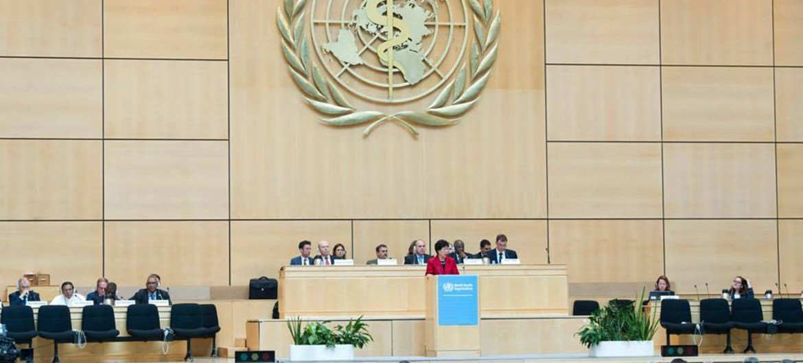 WHO Director-General Margaret Chan (at podium), addresses the 67th World Health Assembly.