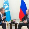 El Secretario General de la ONU, Ban Ki-moon, se reune con el presidente ruso Vladimir Putin en Shangai  Foto:ONU/Mark Garten
