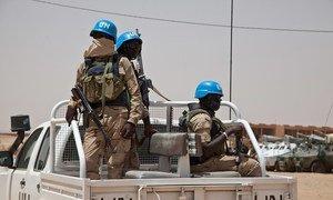 UN peacekeepers on patrol in Kidal, Mali.
