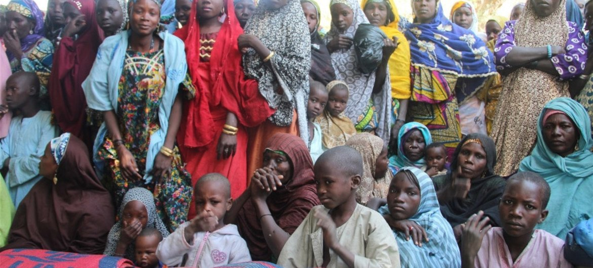 Refugees and returnees who have fled Boko Haram violence in Borno State, Nigeria, sheltering in Niger's Guesseré village on the border.
