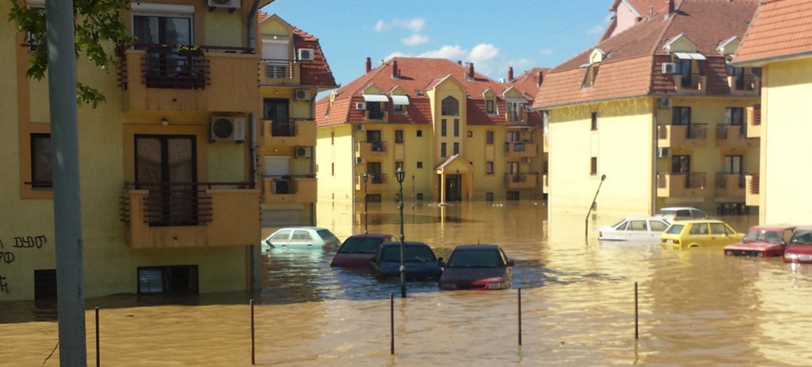 View of the flooded city of Obrenovac near Belgrade, Serbia, that was evacuated on the second day of crisis on 19 May 2014.
