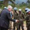 Hervé Ladsous, Under-Secretary-General for Peacekeeping Operation, greets a MONUSCO FIB contingent in Pinga, DR Congo.